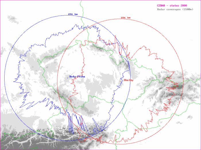 Mapka ukazuje maximální dosahy meteorologických radarů ČHMÚ (kruhy) a dosahy pro určování intenzit srážek (do výšky 1500 m nad terénem) dle doporučení projektu COST 73